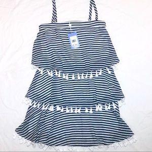 NWT Sail To Sable Navy White Stripe Dress Sz O